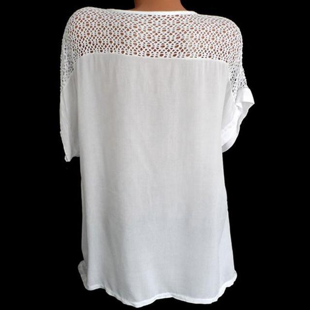 Women Blouse Plus Size XL-5XL Bat's wing sleeved V neck Tops shirt Fashion Lace Edge vestidos casual shirts 2