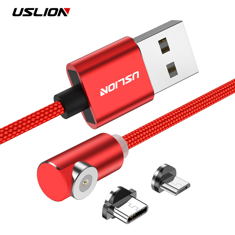 Uslion 90 Degree Led Cable For Samsung S8 Xiaomi Huawei Micro Usb Cable & Usb Type-c Usb C Cable L-line Magnetic Charging Cable Orders Are Welcome. Mobile Phone Cables