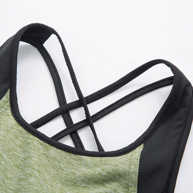 Sleeveless Cross Back Padded Sports  Tank Top