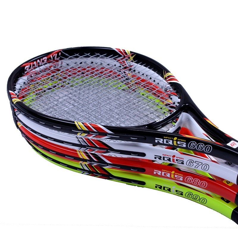 Fiber De carbone Tennis De Raquette Novice Qualité Débutant Tennis De Formation Tir Stable Amortissement Unique Raquette Avec Cordes Q1316CME
