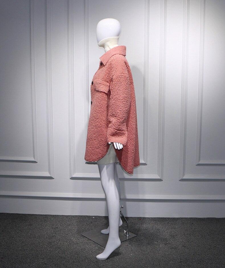 Down 2019 Femmes Manteaux Yuxinfeng Femme Automne Fourrure De D'agneau Veste Poitrine Unique En Turn Fausse Rose Printemps Long Col zpddqw