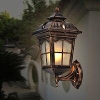 American Vintage Bronze Aluminum Waterproof Outdoor Wall Sconce Lamp European Retro Glass E27 LED Bulb Wall Light Fixture