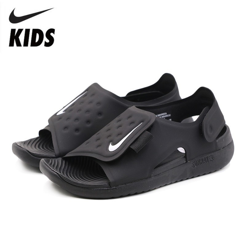 NIKE SUNRAY ADJUST Kids Original 2019 New Arrival Children Sandals Hook Loop Beach Shoes AJ9076 001 in Sandals from Mother Kids