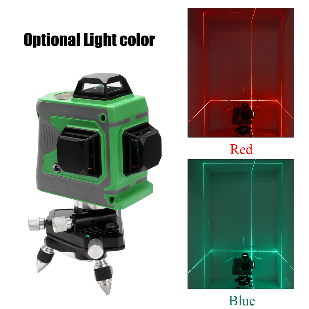 3D Laser Level 360 Laser Levels 12 Lines Blue Green Laser Level Instrument Scanister Kit With