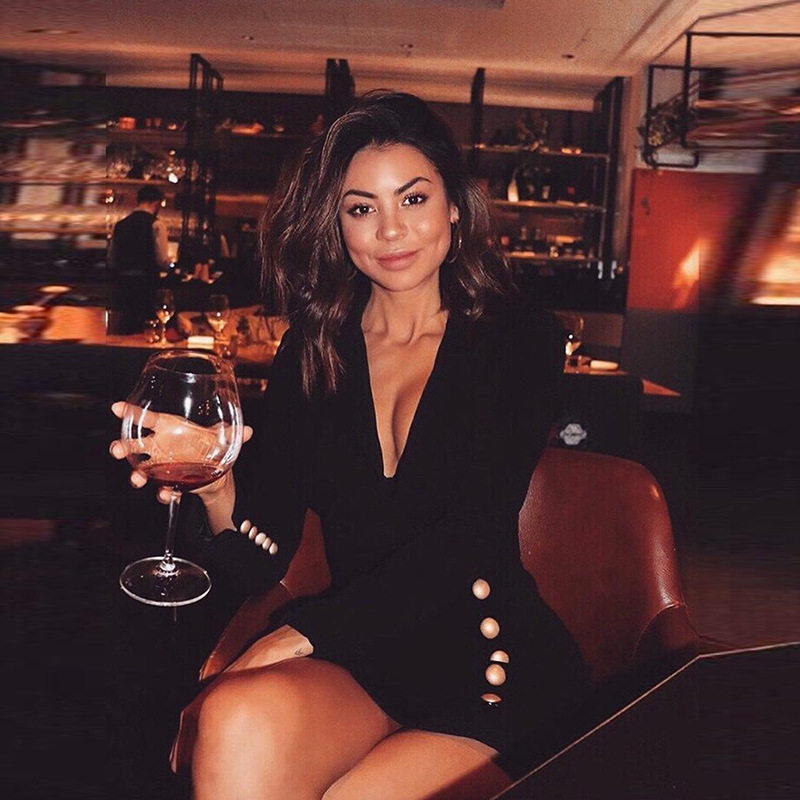 Formelle Femmes Boutons Partie Noir Unique Robe Cou Poitrine Robes White Profonde Hiver Dames 2018 Moulante black Vêtements V Sexy Mini FwYO5xEn