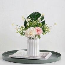купить DIY Artificial Flower Monstera Hydrangea Peony Bridal Bouquet Silk Flower For wedding Valentine's Day Party home Decoration дешево