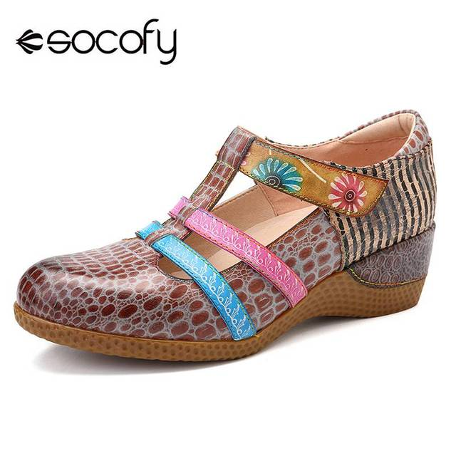 df281814f4778c SOCOFY Retro Genuine Leather Hollow out Pattern Hook Loop Sandals Casual  Loafers Soft Sole Woman Vintage Flower Flats Spring New