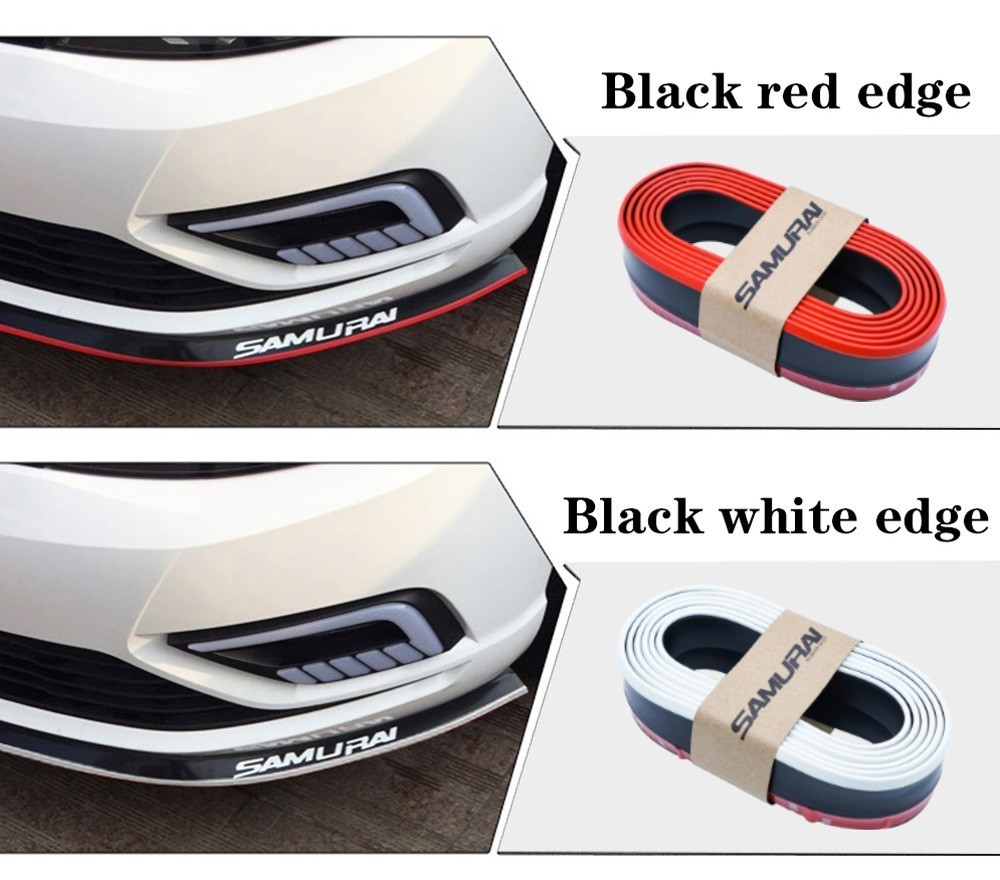 Car Front Lip Bumper Skirts Anti Scratch Rubber Protector Strip Decoration 2.5M