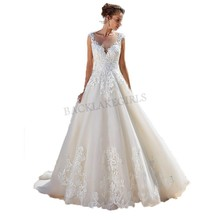 Lace Applique Sleeveless Illusion Beach Wedding Dress