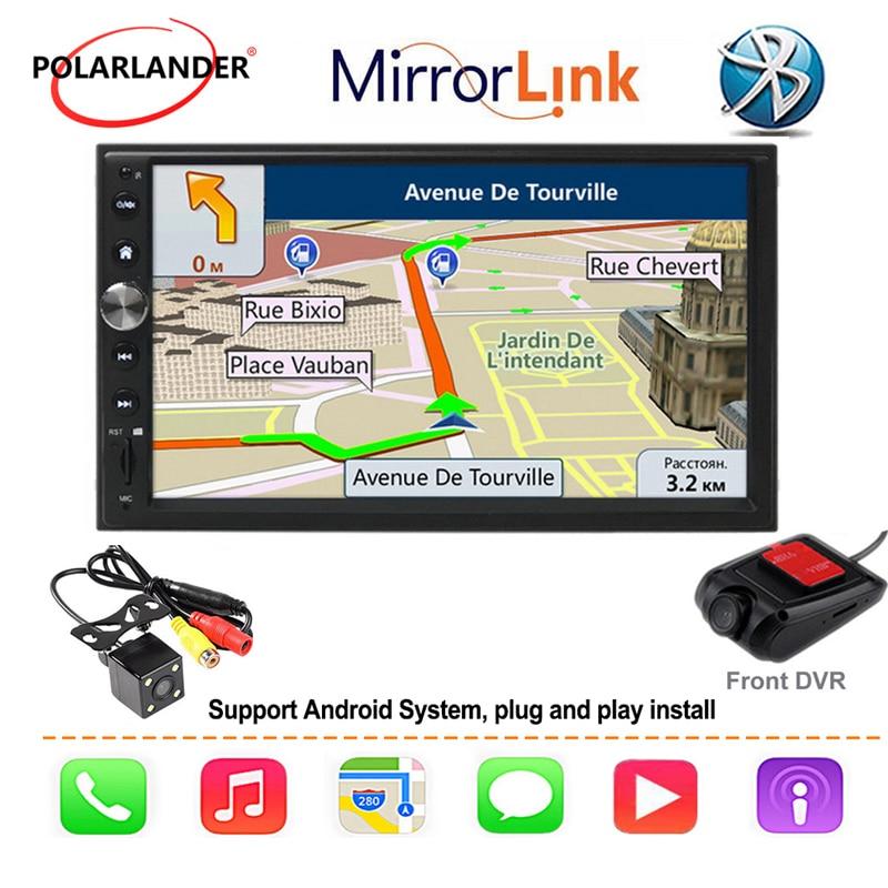 7'' 2 DIN Car Radio Touch Screen MP5 Mirror Link Multimedia Bluetooth Autoradio For Apple Carplay & Android GPS Navi FM Audio