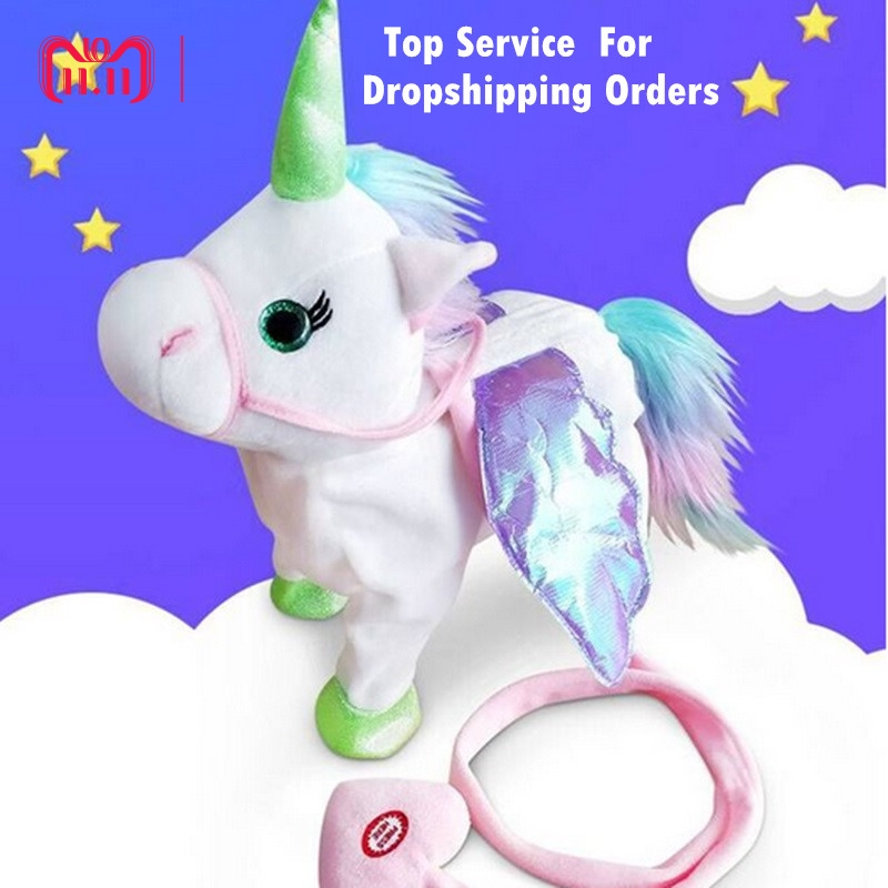 DROPSHIPPIN 35cm Electric Walking Unicorn Plush Toy Stuffed Animal Toy Electronic Music Unicorn Toy for Children Christmas Gift цена