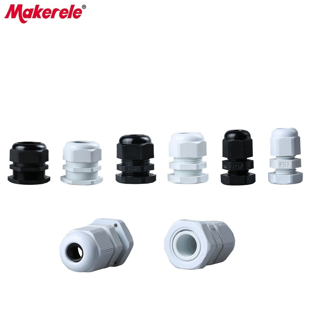 10Pcs/lots Black/White Plastic Nylon Waterproof Cable Glands Joints IP68 Connector For PG7 PG9 PG11 PG13.5 PG16