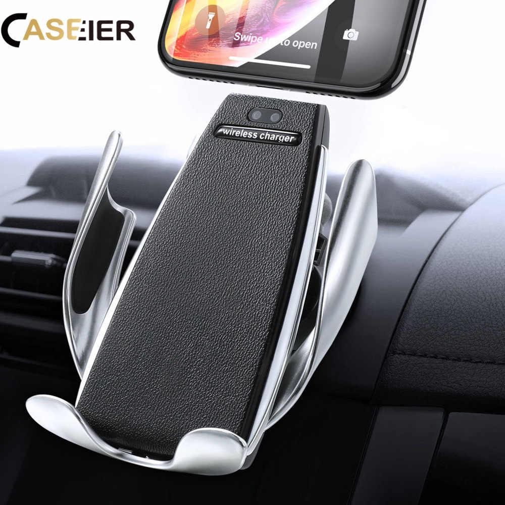 Caseier 10 W Mobil Charger Nirkabel untuk iPhone 8 XR X Mobil Ponsel Penguin Holder 2 In 1 Pengisian Cepat 360 Derajat Berdiri Di Mobil Charger