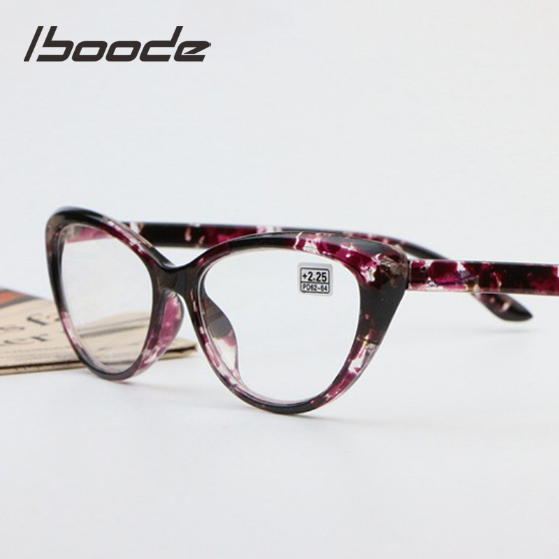 Iboode Retro Floral Cat Eye Reading Glasses Women Men Ultralight Presbyopic Glasses +1.25 1.5 1.75 2.0 2.25 2.5 2.75 3.0 3.5 4.0