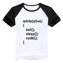 Programmer T-shirt While Loop Tshirt Eat Sleep Code T Shirt Hello World Tops Soft Modal Tee Men Camiseta New Arrivals Clothes