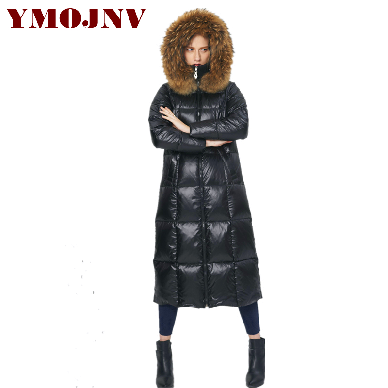 YMOJNV New Winter Jacket Women Real Raccoon Fur Collar   Down   Parka Thickening Long Large Size Hooded Duck   Down   Jacket   Coat   Female