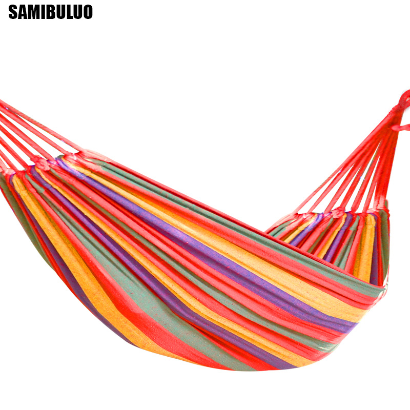 Leisure Double Canvas Hammocks Rainbow Outdoor Ultralight Camping Hammock With Backpack