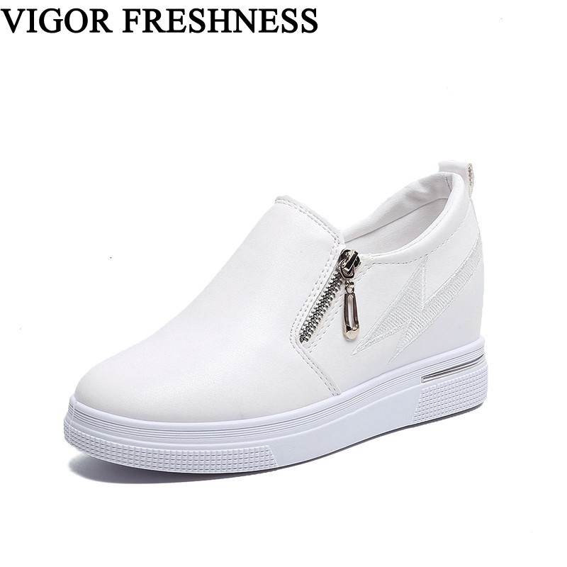VIGOR FRESHNESS Women Shoes Wedges Pumps Spike Heels Platform Shoes Spring Women's Sneakers White Lady Pumps Autumn Shoes WY426