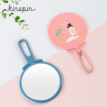 Kinepin Cute Handheld Makeup Mirror Adjustable Hand Portable Free-Standing Make Up Mirror Cosmetic Travel Compact Pocket Mirrors(China)