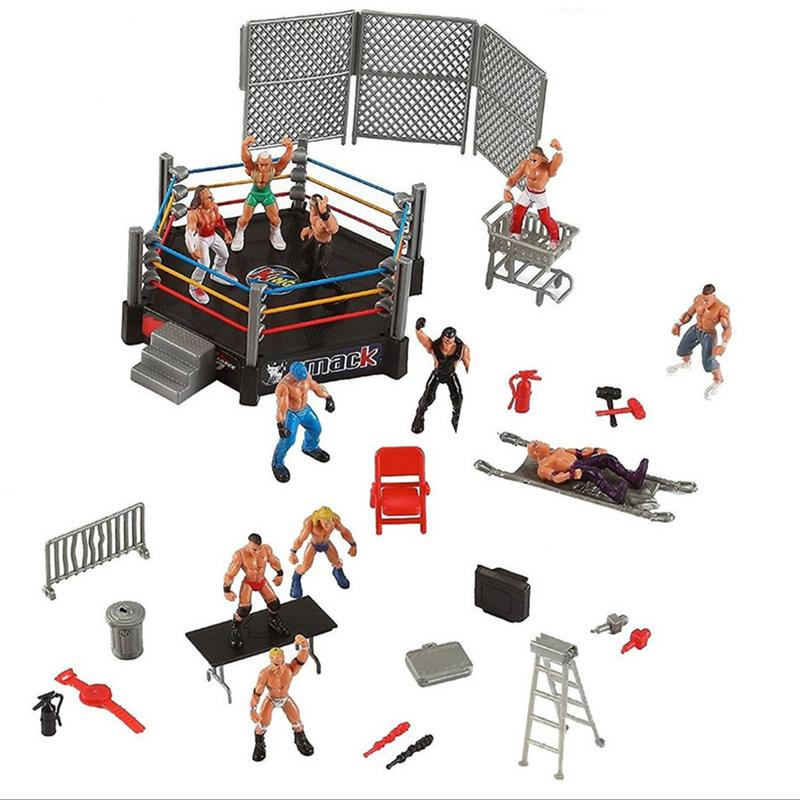 Wrestling Club Wrestler Athlete Gladiator Model Doll Warrior Toy Set With Fighting Station And Cage Arena Ring Gift For Children