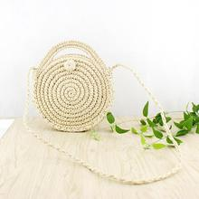 INS New Ladies Hand-woven Bag Round Rattan Retro Literary Package Bohemia Beach Messenger Household Storage