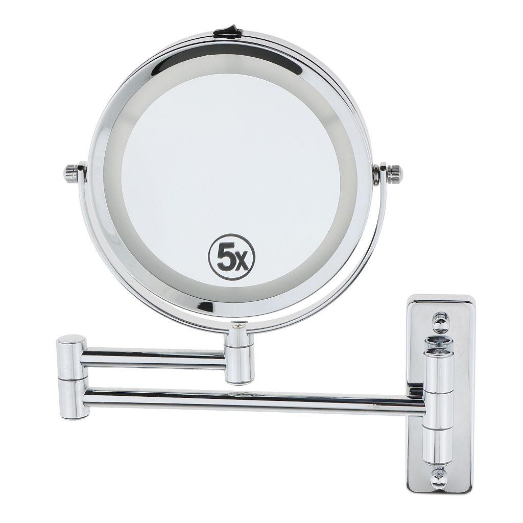 Beauty Two Sided Swivel Wall Mount Mirror with Extendable Arm 7x Magnification Bathroom Shaving Makeup Cosmetic Face Care