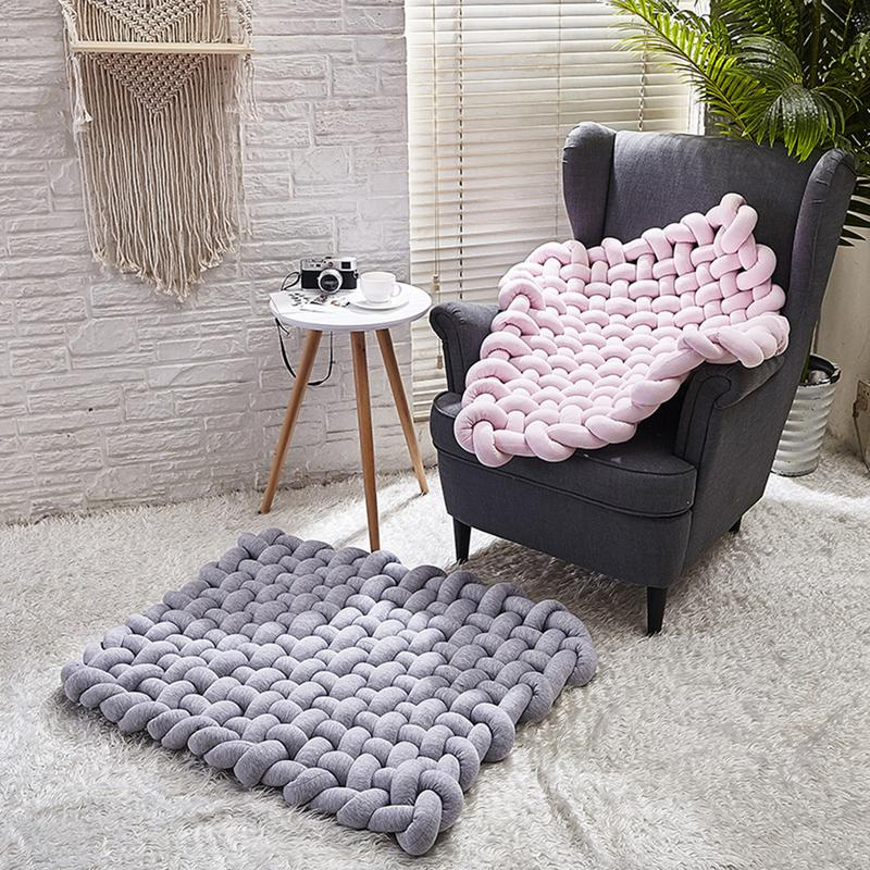 Nouveau INS Style 45x45 cm tapis tissé à la main bébé ramper tapis antidérapant coussin décoration de la maison accessoires de photographie - 5