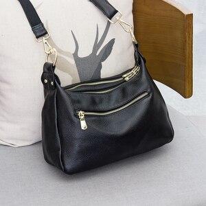 Image 2 - Femmes sac à bandoulière 100% en cuir véritable sac à main noir Hobos mode dame Messenger sac à main bandoulière grande capacité