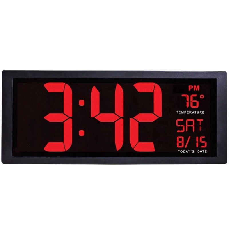 Tela grande grande relógio de parede eletrônico desktop led digital calendário relógio termômetro de poupança de luz do dia para a cozinha mural