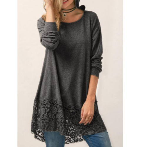 Women Autumn Loose Long Sleeve Casual   Blouse     Shirt   Ladies Casual Lace Hooded Solid Tops Pullover