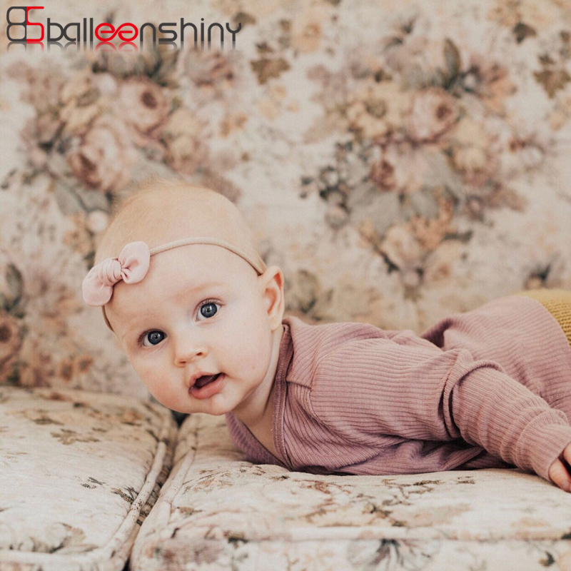 BalleenShiny Bowknot Headband Baby Girl Cute Fashion Elastic Hairbands Headwear Nylon Turban Newborn Hair Accessory Photo Prop