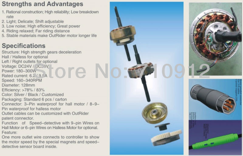 Sales ! 36V 250W DC No Hall Brushless 135 Disc Brake Rear Motor CE Approval 260rpm OR01B5