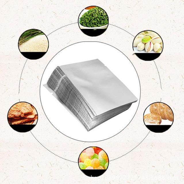100 PCS de Prata Da Folha De Alumínio Mylar Saco Pacote De Armazenamento De Alimentos Aferidor Do Vácuo