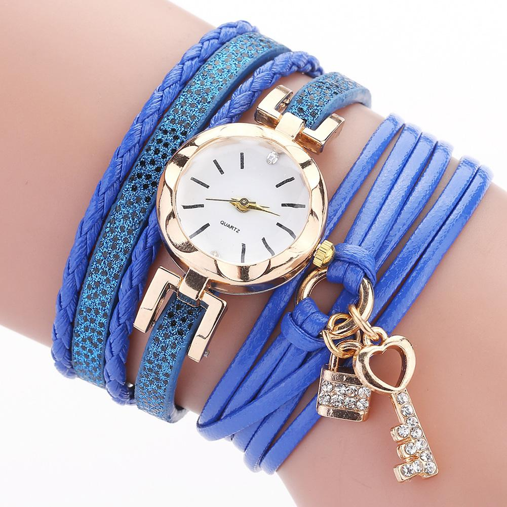 Women Watch Quartz Spring And Summer New Fashion Ladies Circle Bracelet Watches Love Key Lock Pendant Gift Quartz Watch