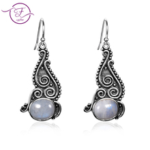 New listing 8X10 natural moonstone earrings DIY retro style 925 sterling silver pendant women fashion wedding party who