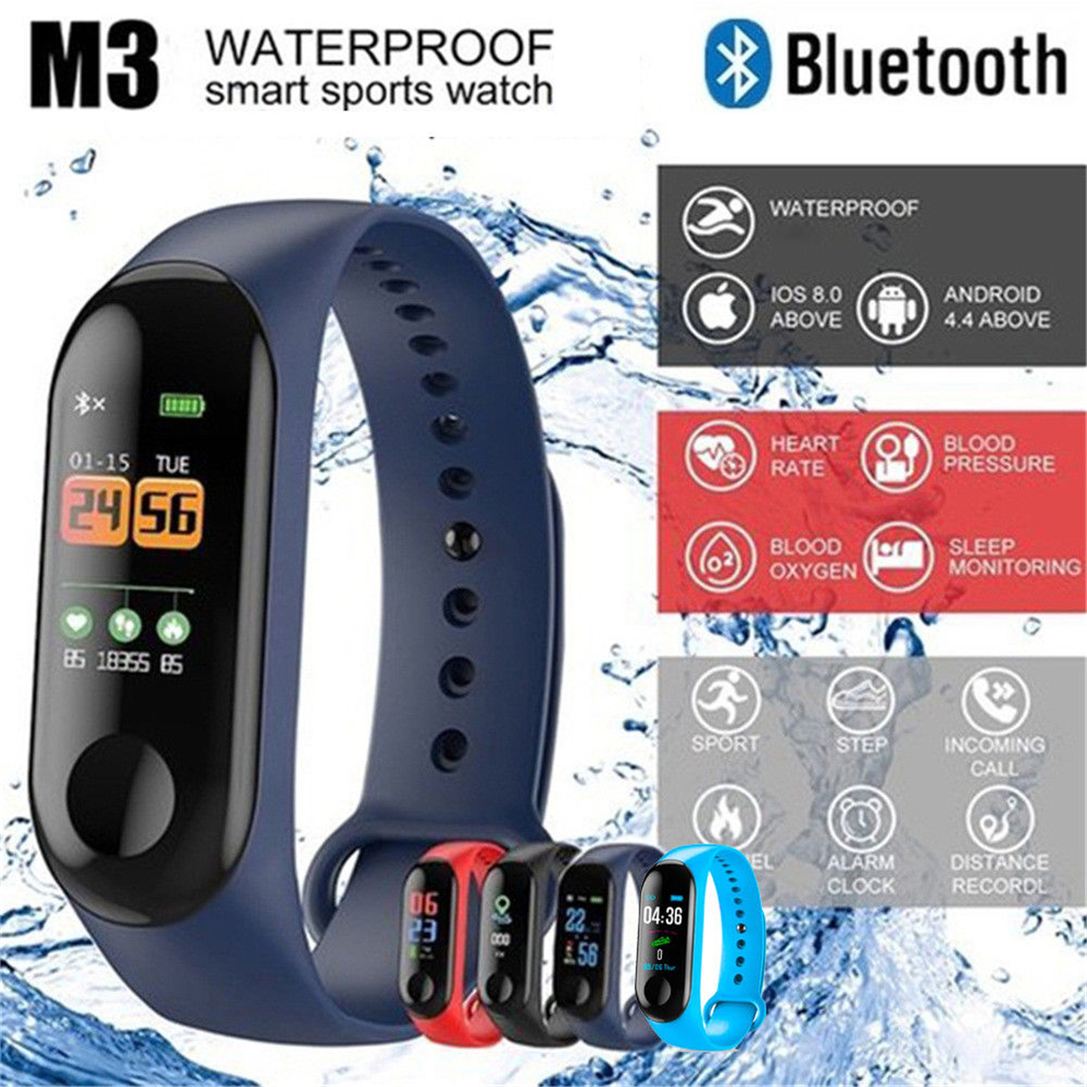 M3 Sports Smart Bracelet Band Bluetooth TPU Detachable Wristband Color Screen Call Message Alerts For iPhone Android Wholesale image