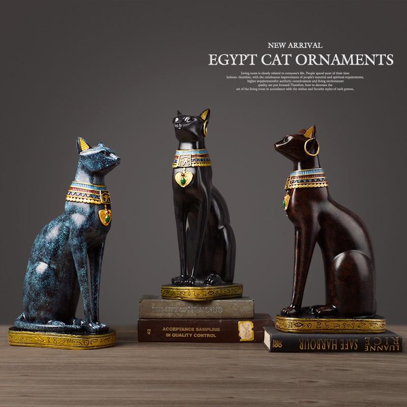 Egyptian Cat Resin Craft Vintage Home Decor Modern Vintage Baster Goddess God Pharaoh Figurine Statue For Table Ornaments Gift