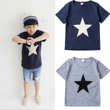 2019 new Simple Star Baby Boys T-Shirt Short Sleeve Shirt Children Cute Top Blouse Tee for Clothes Kid Toddler Clothing