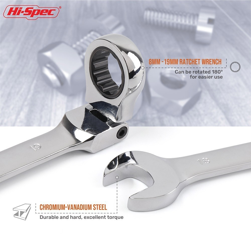 Image 5 - Hi Spec 6/8 12pc Flexible Combination Wrench Set Ratchet Wrench Torque Wrench Spanner A Set of Keys Torquimetro Chave Catraca-in Wrench from Tools
