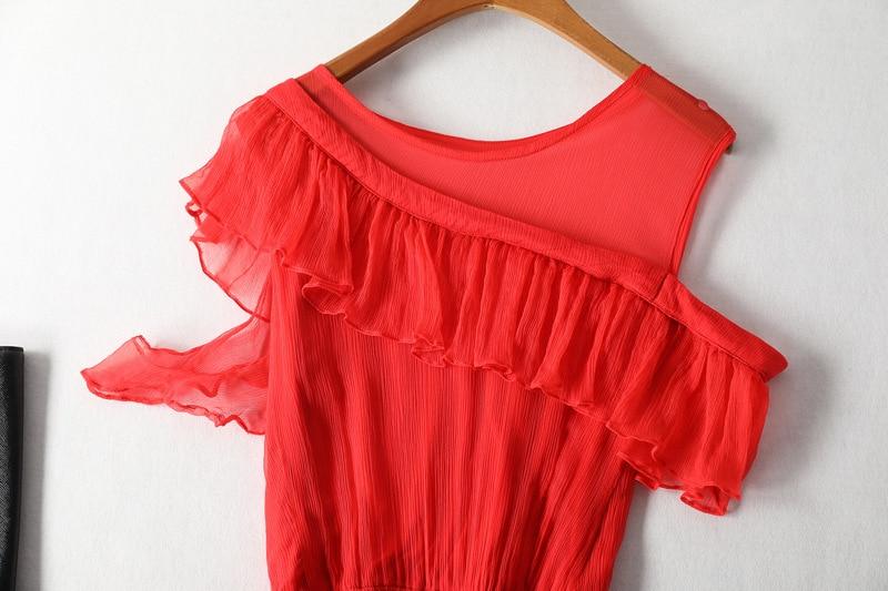 Casual Vacaciones Black De Estilo Elegante Patchwork Playa Oficina Volantes Seda Bohemio Midi Vestido 2019 red Verano Axw86gqwB
