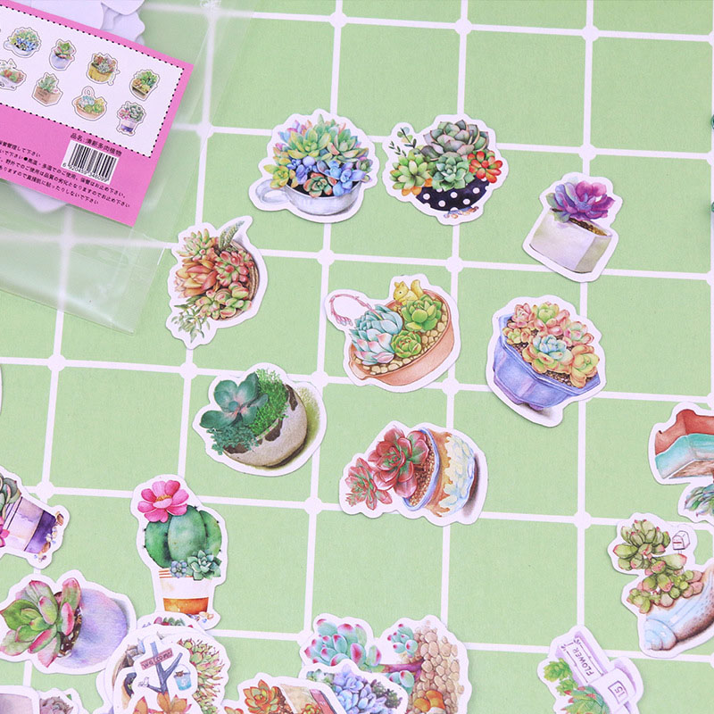 Lovely Cartoon Animal Stickers Cute Green Plant Decorative Paper Stickers Girls Kids Gift For Diy Diary Scrapbooking Accessories