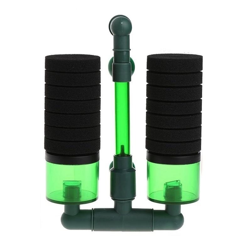 Aquarium Biochemical Sponge Filter Fish Tank Air Pump+Suction Cup Double Head US