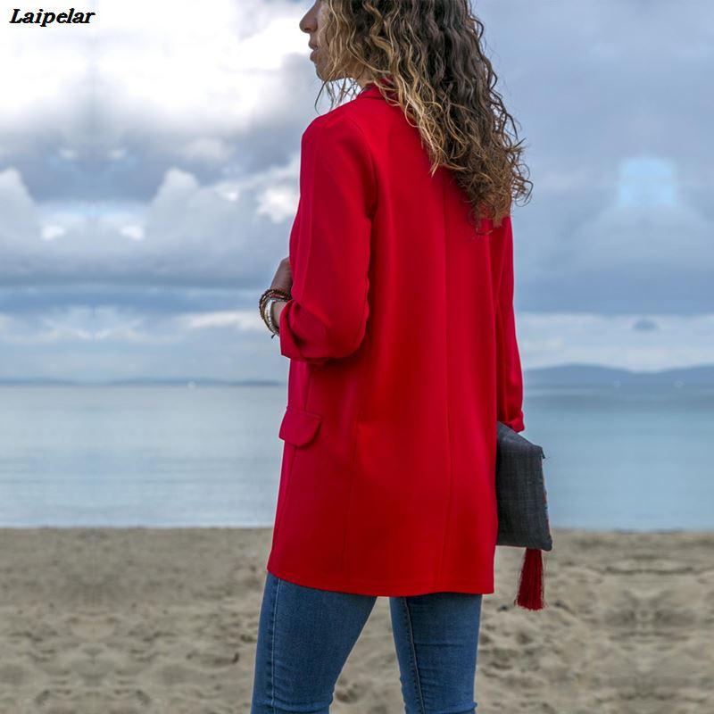 Women Spring Fall Blazer Jacket Fashion None Button Work Office Lady Suit Casual Slim Business Female Blazer Coat Laipelar