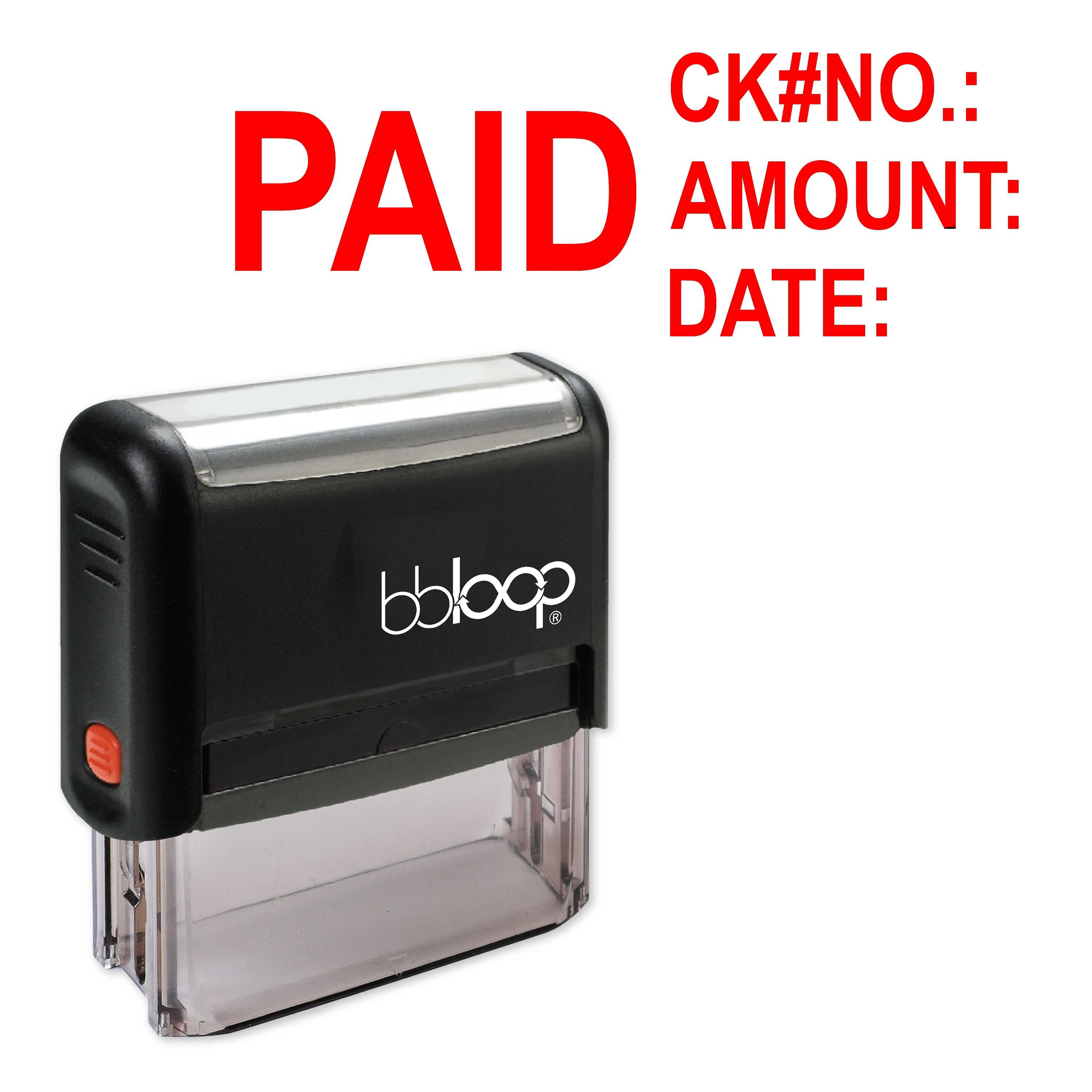 Bbloop Paid W Check Details Self Inking Rubber Stamp