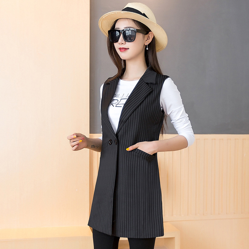 #0705 Spring Office Striped Long Blazer Vest Women Plus Size Slim Fit Sleeveless Jacket Waistcoat Women Suit Vest Coat Elegant