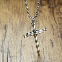Silver Mens Necklace Stainless Steel Nail Cross Pendant Vintage Fashion Mens Colar Punk Hop Jewelery(China)