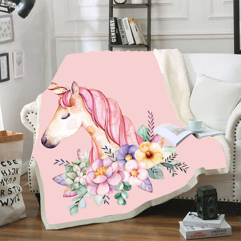 Horse Unicorn Pink Velvet Plush Throw Blankets For Kid Adults Sherpa Fleece Yellow Blanket For Beds Sofa Thin Quilts Home Decor