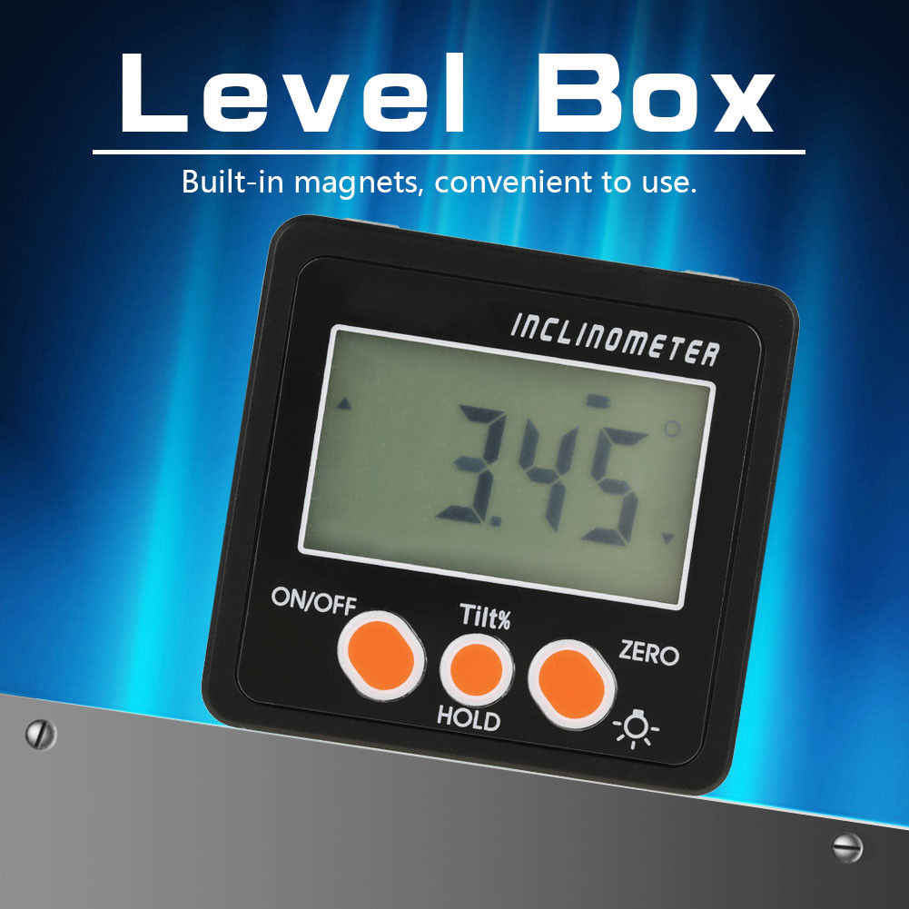 Digital Protractor Black Precision Digital Magnetic Base Inclinometer Water Proof Level Tool Angle Finder Bevel Box Dropshipping
