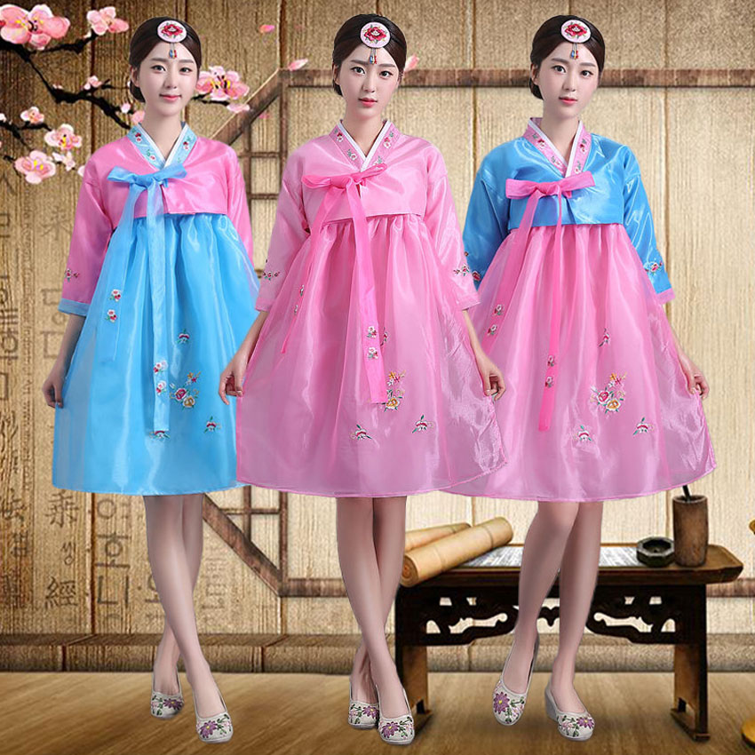 Woman Asain Oriental Traditional Korean Hanbok Costumes Tops+dress Female Girls Knee Length Korea Royal Luxury Dance Set