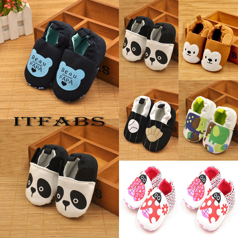 Soft Newborn Baby Slippers Cute Animal Pattern Toddler Boys Girls Soft Sole Crib Shoes Sneakers Baby Cotton Crawling Walker
